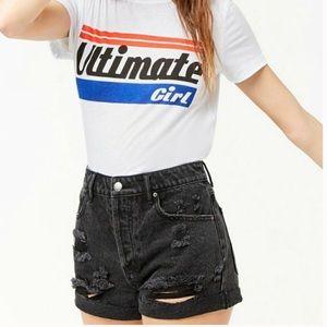 Forever21 high rise distressed denim shorts